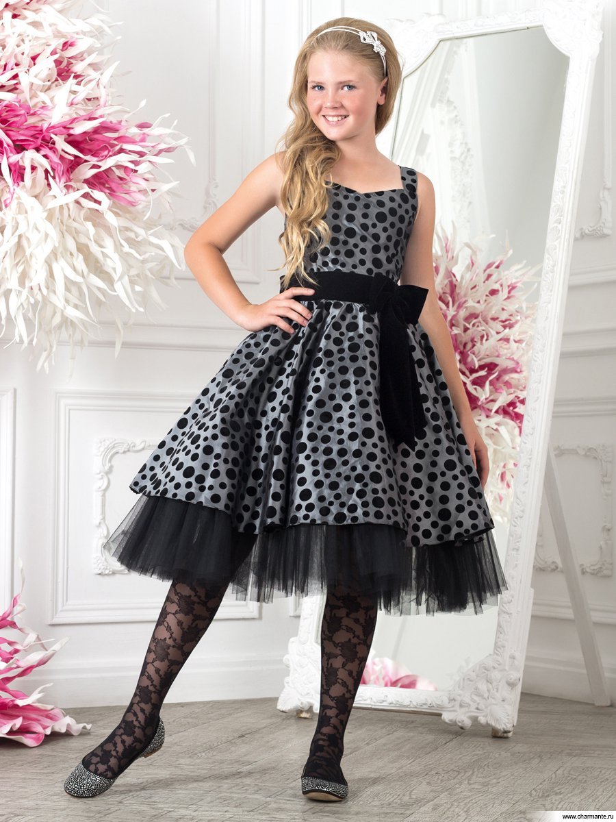 Платье праздничное для девочек+болеро PSAK051401 серый жемчуг/черный - купить в интернет-магазине Charmante.ru