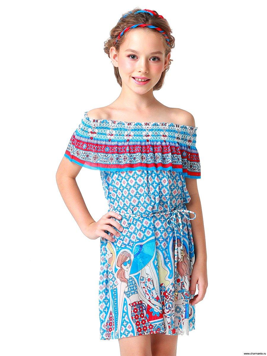 Платье пляжное для девочек, цвет: