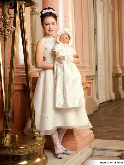 Платье праздничное для девочек + капор Charmante PSAC061202