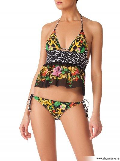 Купить Комплект купальник женский + юбка WP/WU211401 Francesca, Charmante, белый горошек на чёрном с цветочным багетом