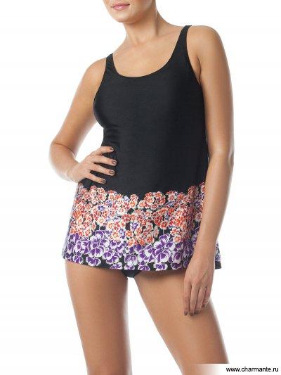 Купить Купальник женский слитный WPBQ241405 Judith, Charmante, чёрный с фиолетовыми и оранжевыми цветами