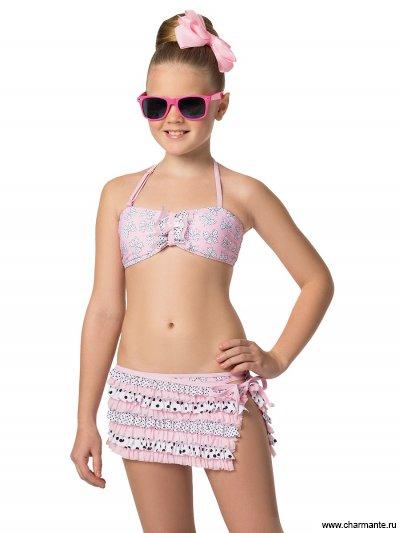 Купить Купальник для девочек (бюст, плавки, юбка) GBZ051507 Vanilla, Charmante, мультиколор