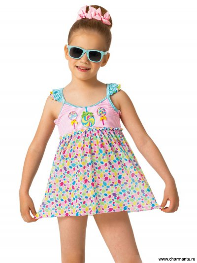 Пляжный костюм для девочек (плавки+платье)