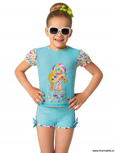 Пляжный комплект для девочек (футболка+шорты) Charmante GFX091507 Chupa-chups