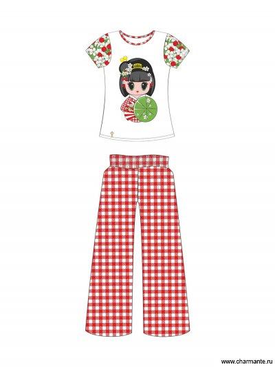 Купить Пляжный комплект для девочек (брюки+топ) GHC 021509 AF Carina, Charmante, мультиколор