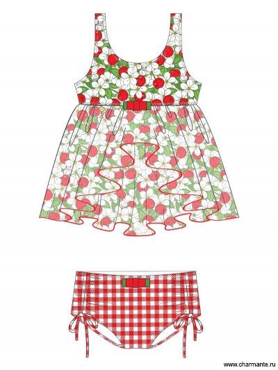 Купить Пляжный комплект для девочек (топ+плавки) GPQ 021501 AF Celina, Charmante, мультиколор