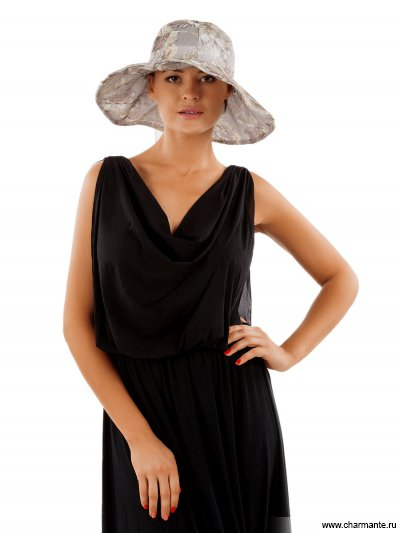 Купить Шляпа женская HWHT801, Charmante, серый с винтажной розой