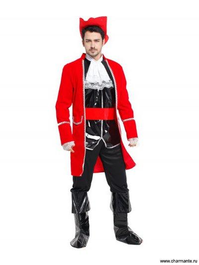 Костюм карнавальный для мужчин (Пират в черно-красном)