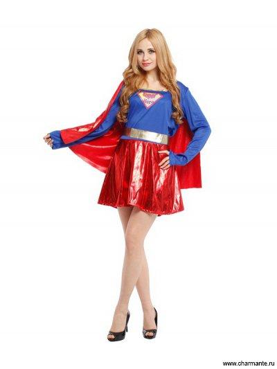 Костюм карнавальный для женщин (Суперменша с плащом)