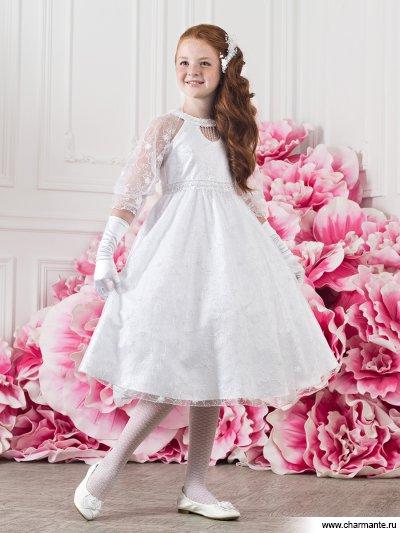 Платье праздничное для девочек + болеро + перчатки