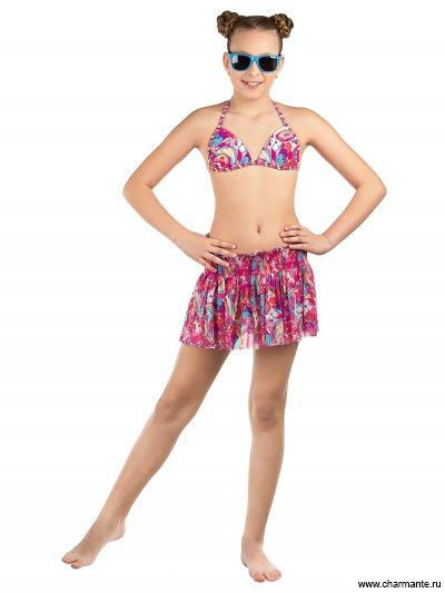 Купить Купальник для девочек (бюст, плавки, юбка) YDU 111604 Isabelle, Charmante, мультиколор