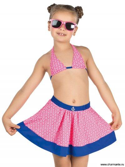Купить Купальник для девочек (бюст, плавки, юбка) GMU 011607 Domestica, Charmante, мультиколор