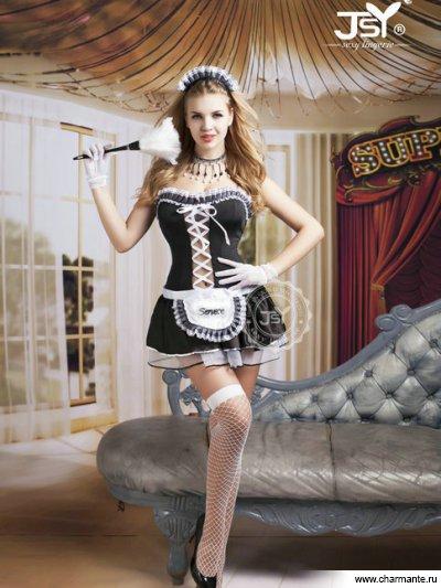 Комплект женский (платье, стринги, головной убор, перчатки, чулки, метёлка) contex flash
