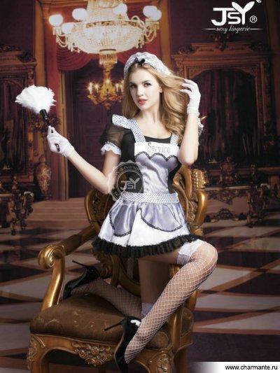 Комплект женский (платье, стринги, головной убор, перчатки, чулки, метёлка) чулки coquette в мелкую сетку под пояс черные os