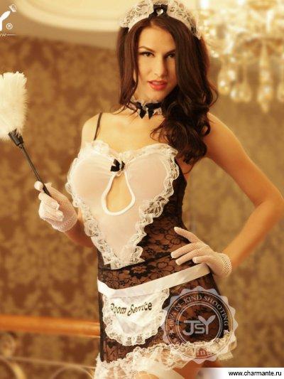 Комплект женский (комбидресс, стринги, чулки, головной убор, метёлка, кружево на шею) и rene rofe чулки сетка