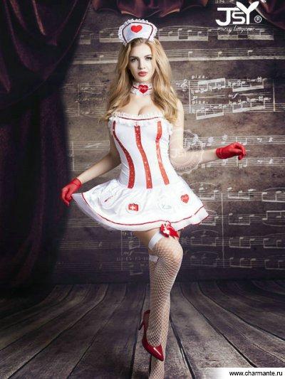 Комплект женский (платье, стринги, перчатки, чулки, головной убор, кружево на шею) комплект женский платье перчатки чулки стринги