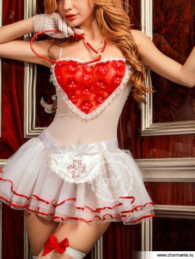 Комплект женский (комбидресс, стринги, головной убор, перчатки, стетоскоп, фартук, чулки) кляп lux fetish с шаром из силикона с регулирующимся ремнем