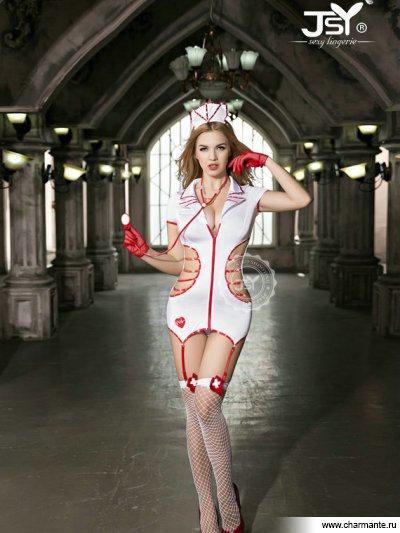 Комплект женский (комбидресс, стринги, чулки, стетоскоп, перчатки, головной убор ) комплект женский платье перчатки чулки стринги