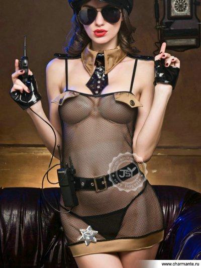 Комплект женский (комбидресс, чулки, стринги, перчатки, галстук, рация, ремень, очки) костюм шерифа женский 44