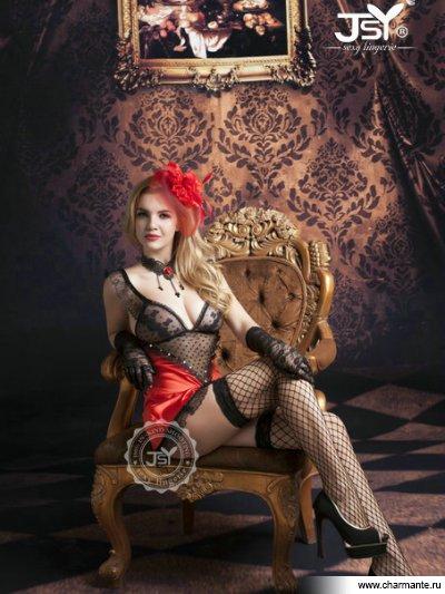 Комплект женский (комбидресс, стринги, чулки, перчатки) комплект женский комбидресс стринги болеро фуражка чулки перчатки пистолет