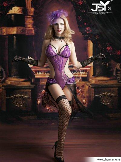 Комплект женский (комбидрес, чулки, перчатки) боди в крупную сетку со шнуровкой на груди и бантом сзади