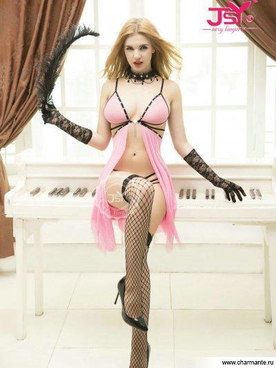 Комплект женский (комбидресс, стринги, чулки, перчатки) пеньюар и стринги черные с розовой кружевной отделкой
