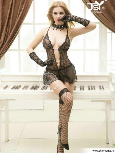 Комплект женский (комбидресс, чулки, перчатки) боди в крупную сетку со шнуровкой на груди и бантом сзади