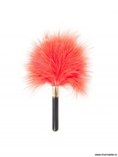 меховая кисть (пластмассовая ручка+перья) размер: 19см