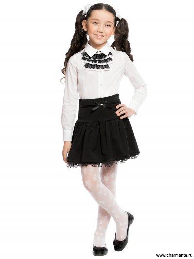 Блузка с жабо с длинным рукавом для младшей и средней школы Charmante ASA881602/ASB661610