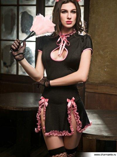 Комплект женский (платье, головной убор, метелка, перчатки, чулки, стринги) j cotelli платье горничной черно белое