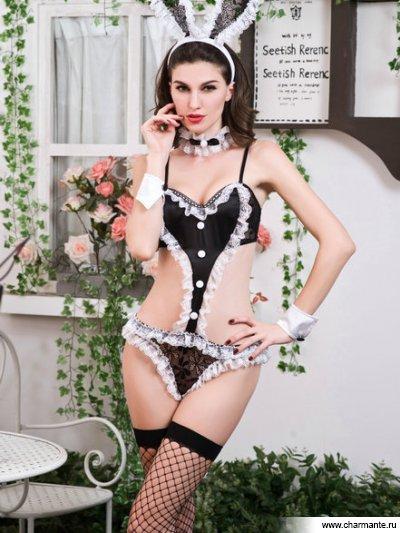 Комплект женский (комбидресс, головной убор, манжеты, кружево на шею, чулки ) le frivole чулки лучше