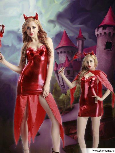 Купить Комплект женский (платье, накидка, головной убор, трезубец, стринги) e9925, Charmante, красный