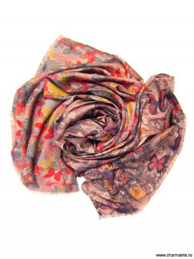 Купить Платок женский, размер 185x70 см SCVIST371, Charmante, бежевый/бордовый