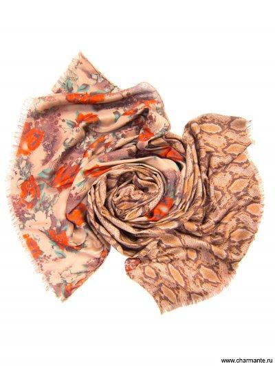 Купить Платок женский, размер 185x70 см SCVIST377, Charmante, бежевый/красный