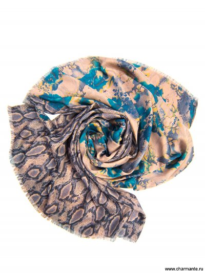 Платок женский, размер 185x70 см SCVIST377, Charmante, синий/бирюзовый  - купить