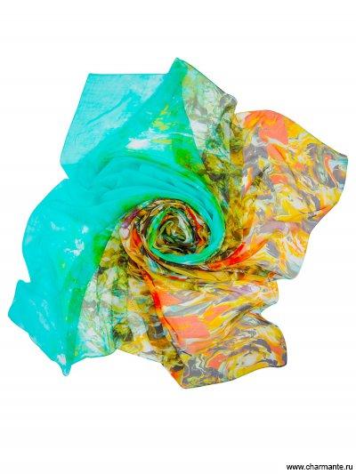 Купить Платок женский, размер 190x130 см SCSF396, Charmante, зелёный/оранжевый