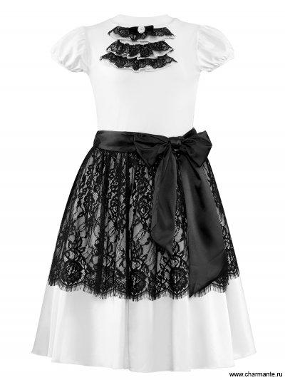 Купить Комплект для девочек (топ, юбка) PRGk061615, Charmante, белый