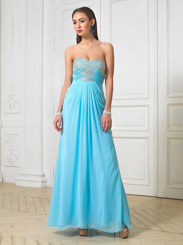 Голубое вечернее платье фото
